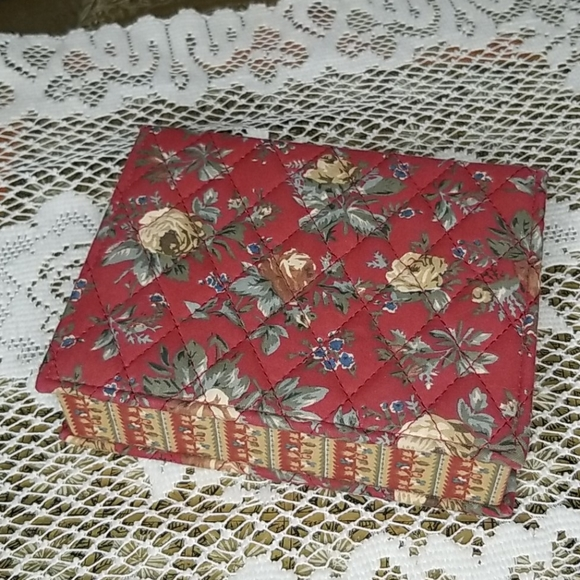 Vintage fabric quilted storage box